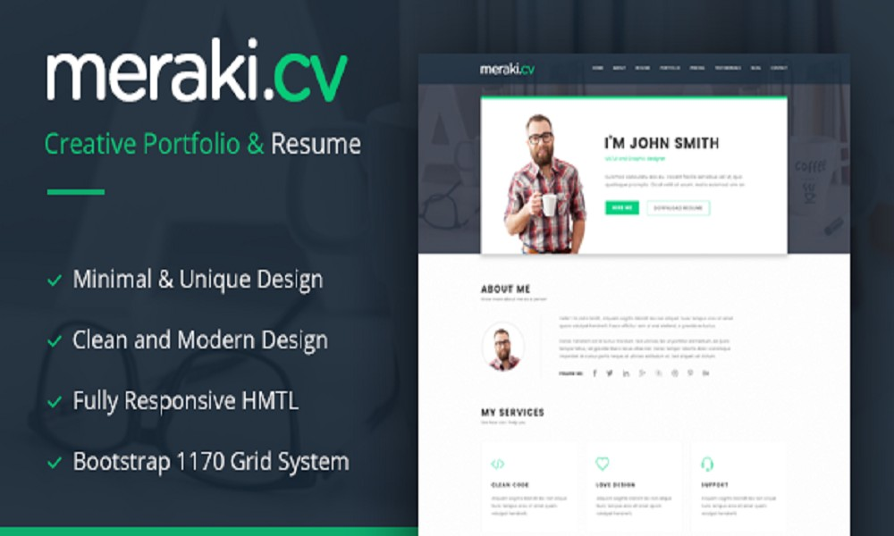 Meraki One Page HTML Resume Template