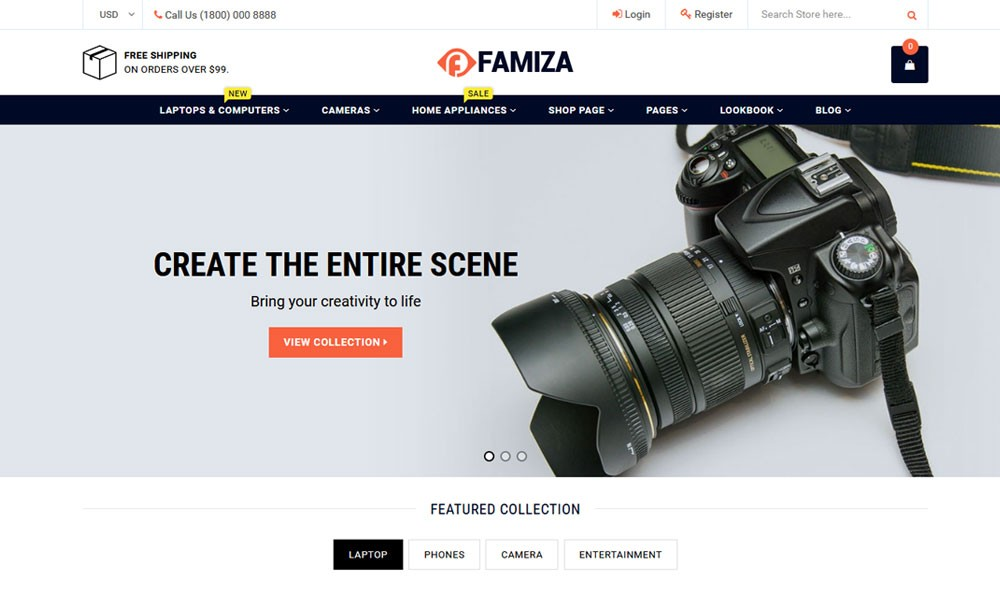 Famiza Clean & Modern Sectioned Shopify Theme