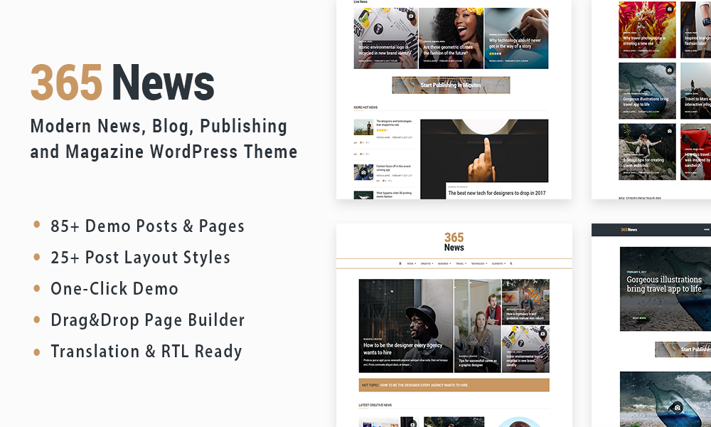 365 News - News Blog Publishing Magazine WordPress Theme
