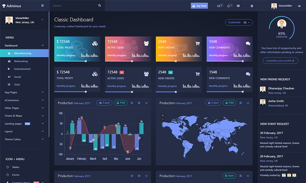 Adminux dashboard responsive template