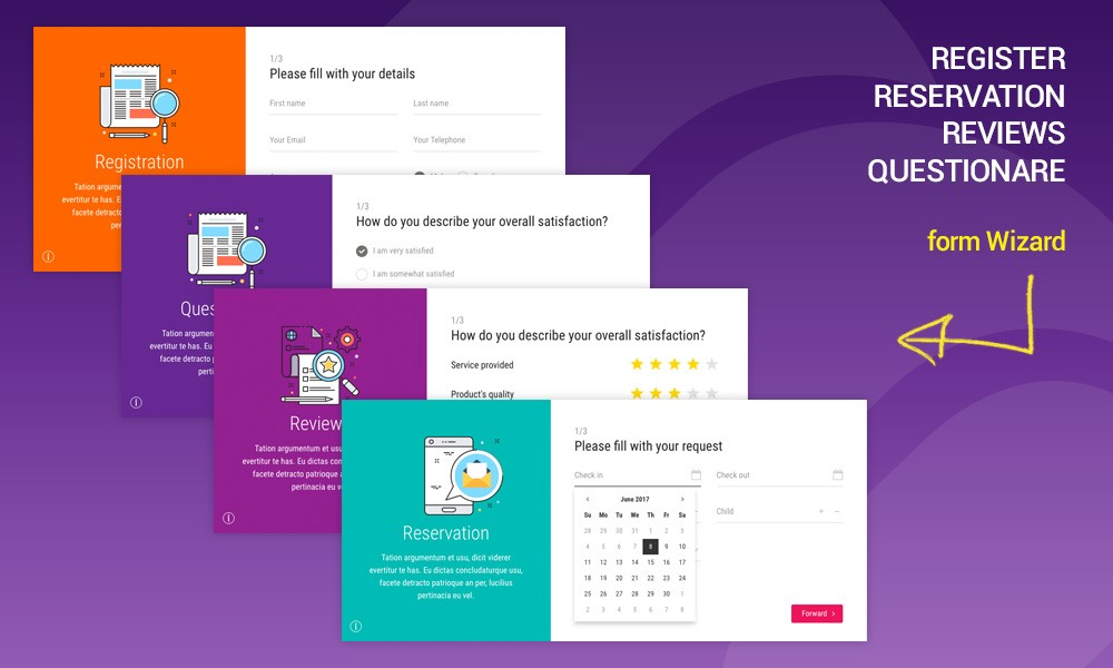 MAVIA | Register, Reservation, Questionare, Reviews form wizard