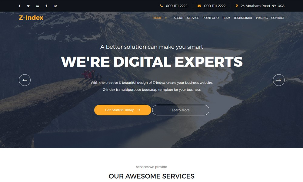 Zindex - Responsive Corporate Business Template