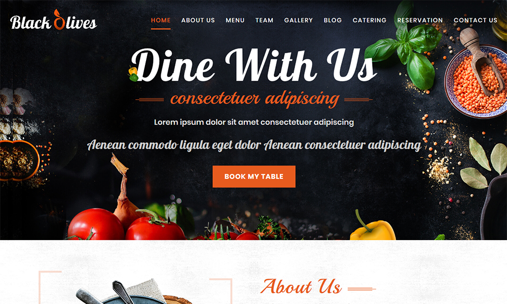 Blackolive - Restaurant One Page HTML
