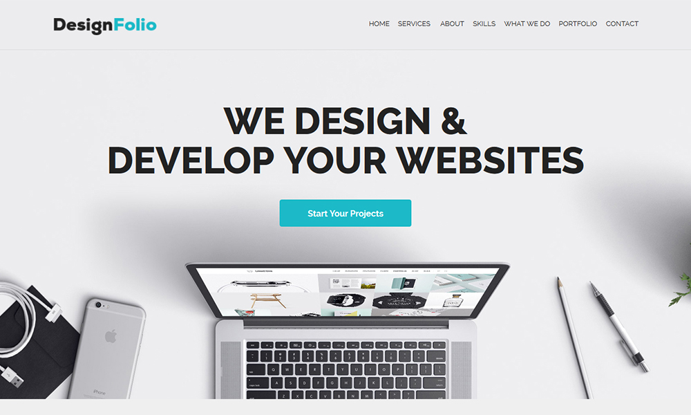 designFolio - Responsive One Page Adobe Muse Template