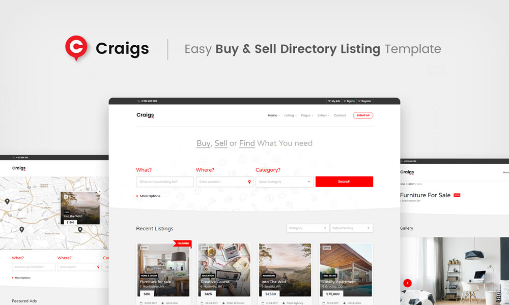 Craigs - Easy Buy & Sell Directory Listing Template