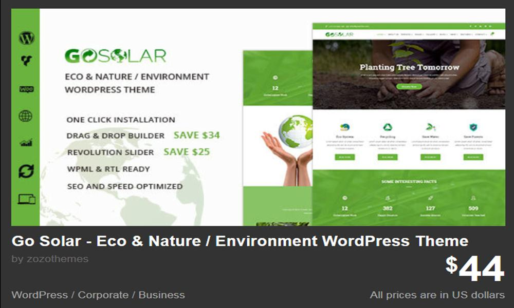 Go Solar - Eco & Nature / Environment WordPress Theme