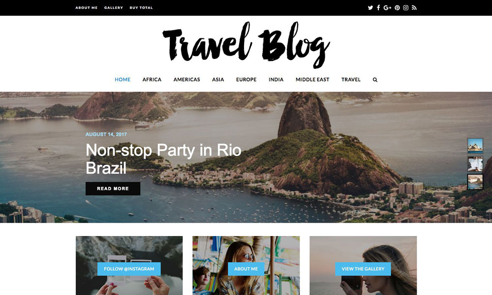 Travel Blog Total WordPress Theme