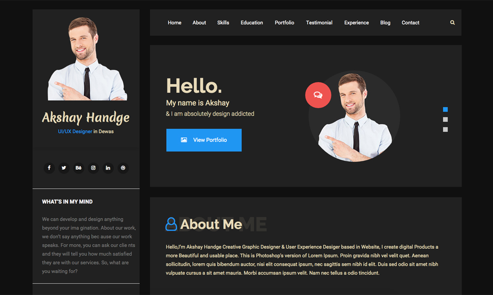 Hello Resume - CV, vCard & Portfolio Muse Template