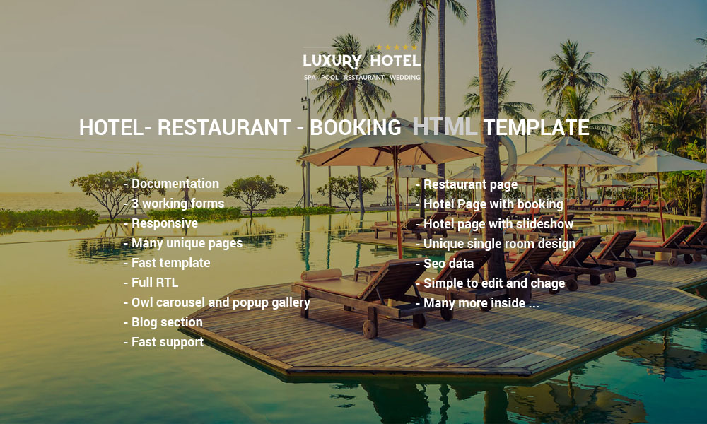Luxury rtl template elaboration example resume and for Hotel booking design