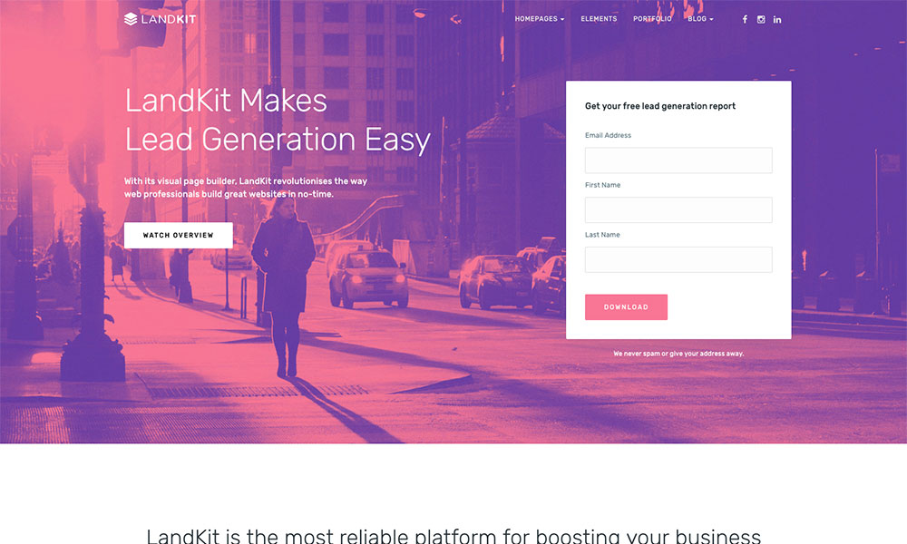 Landkit - WordPress Landing Page Theme