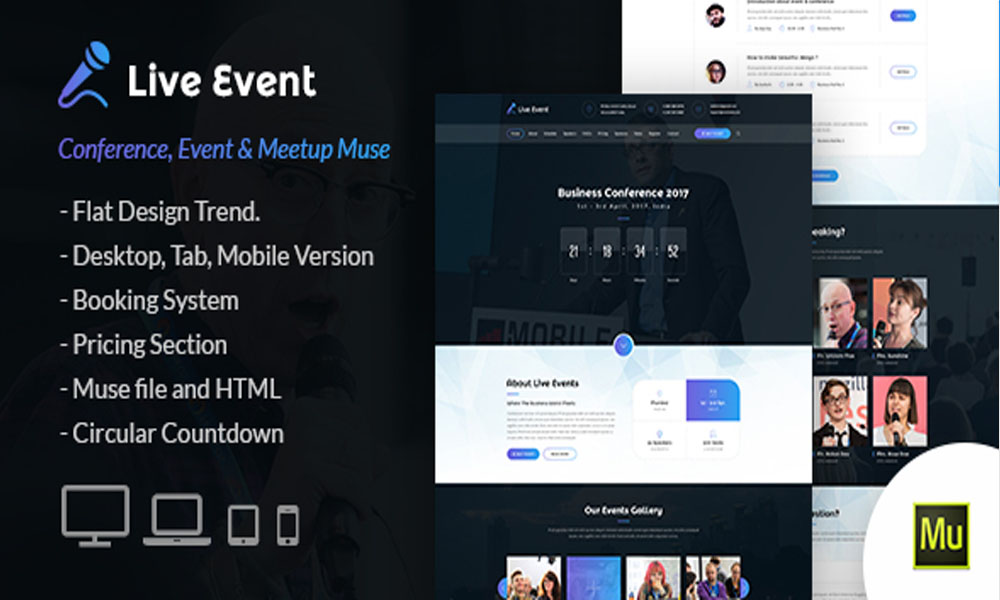 Live Event – Conference, Meetup Muse Template
