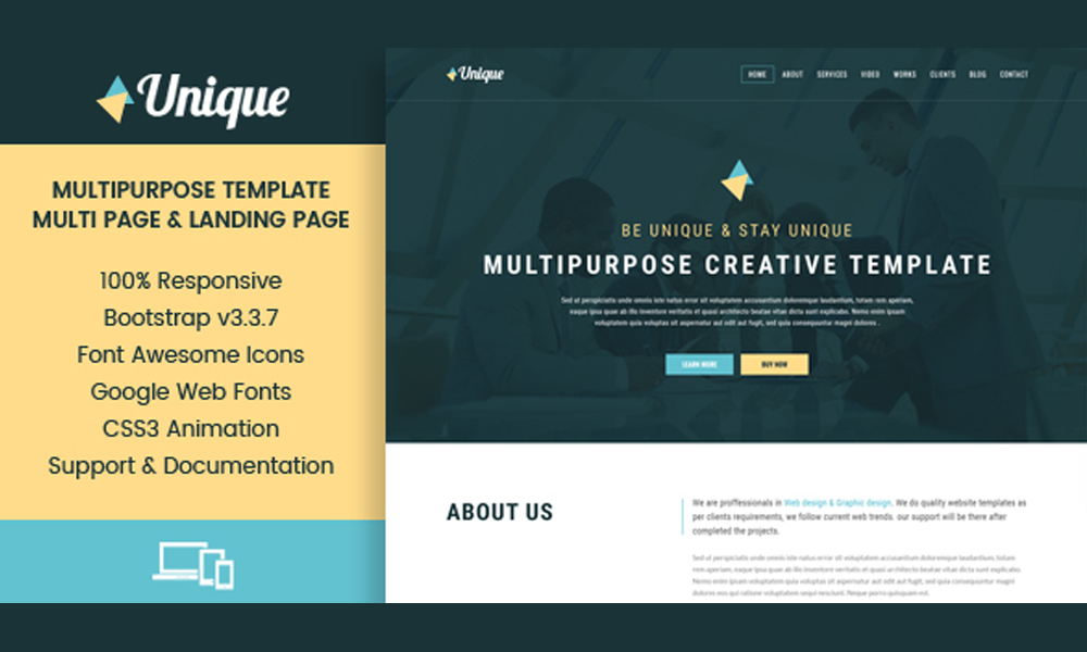 Unique - Corporate Multipurpose Muse Templates