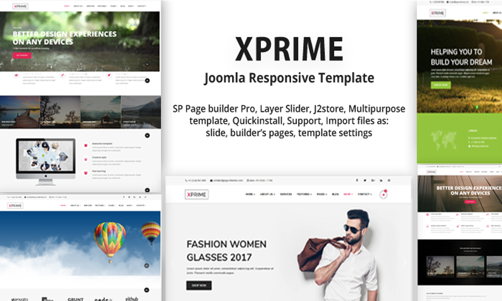 Xprime multipurpose joomla template with page builder for Joomla template builder software