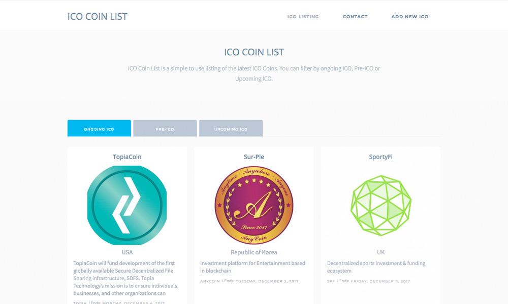ICO Coin List