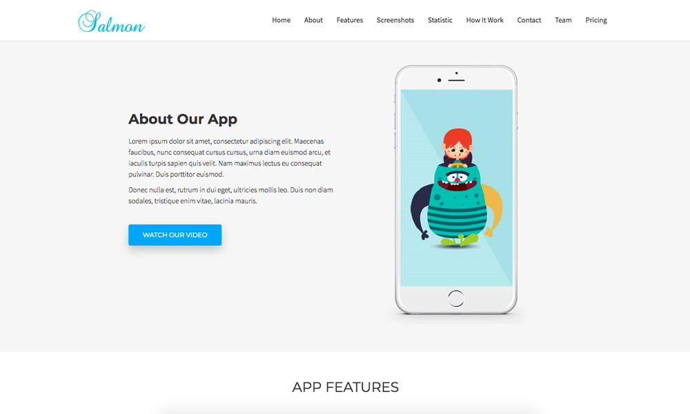 Salmon - One Page App Landing Business Joomla Theme