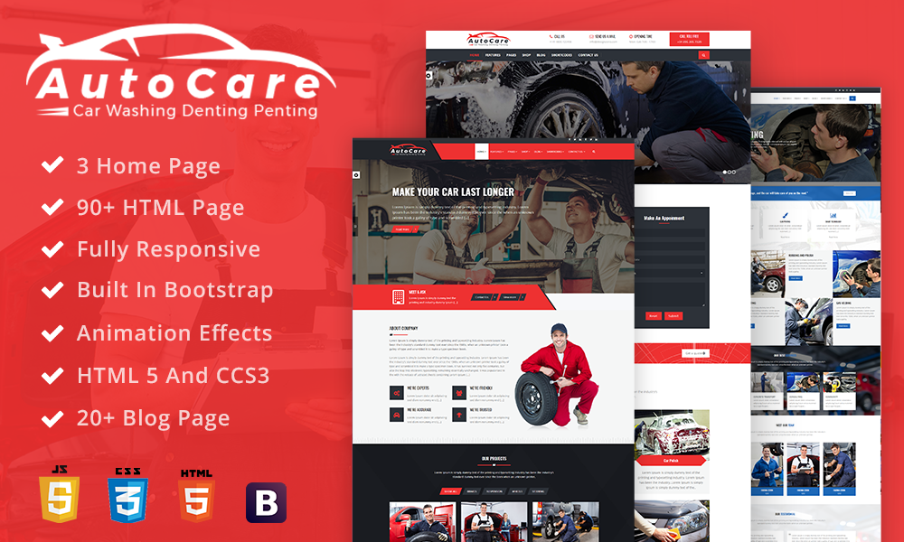 AutoCare: Car Service, Car Washing , Denting and Painting Html Template
