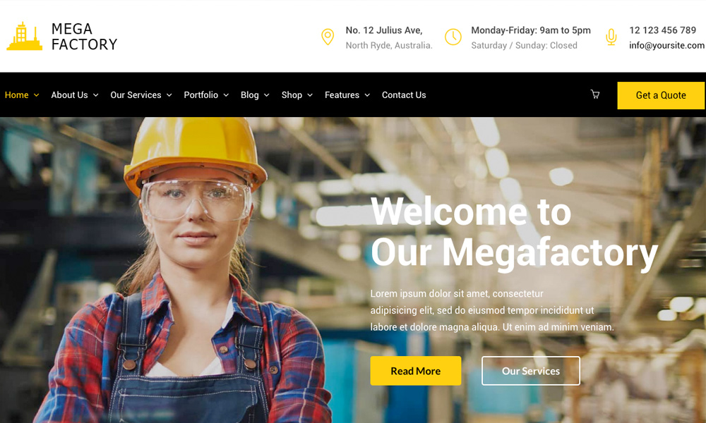 Mega Factory - Factory & Industrial Business WordPressTheme