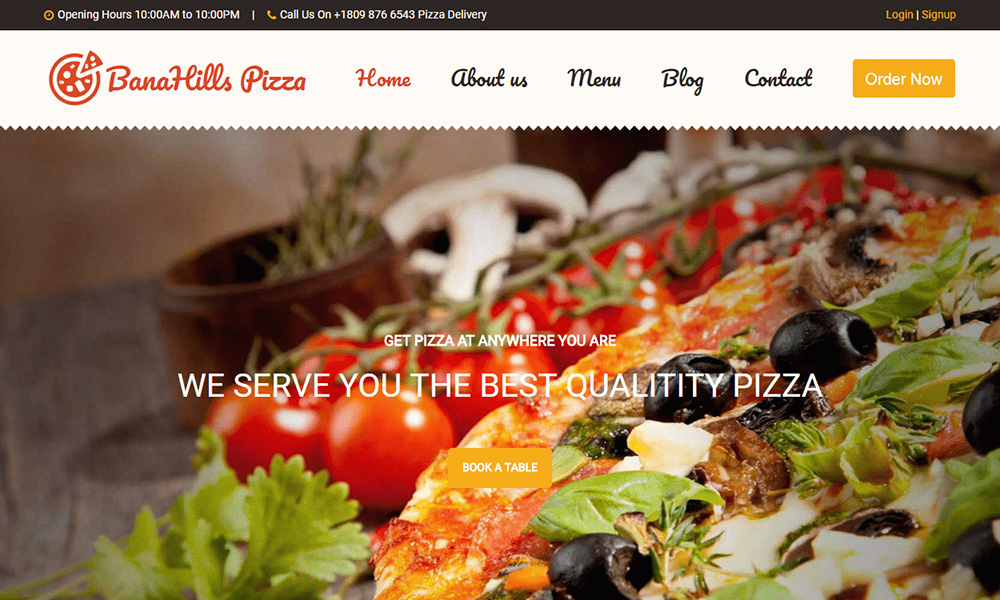 BanaHills Pizza - Restaurant Template