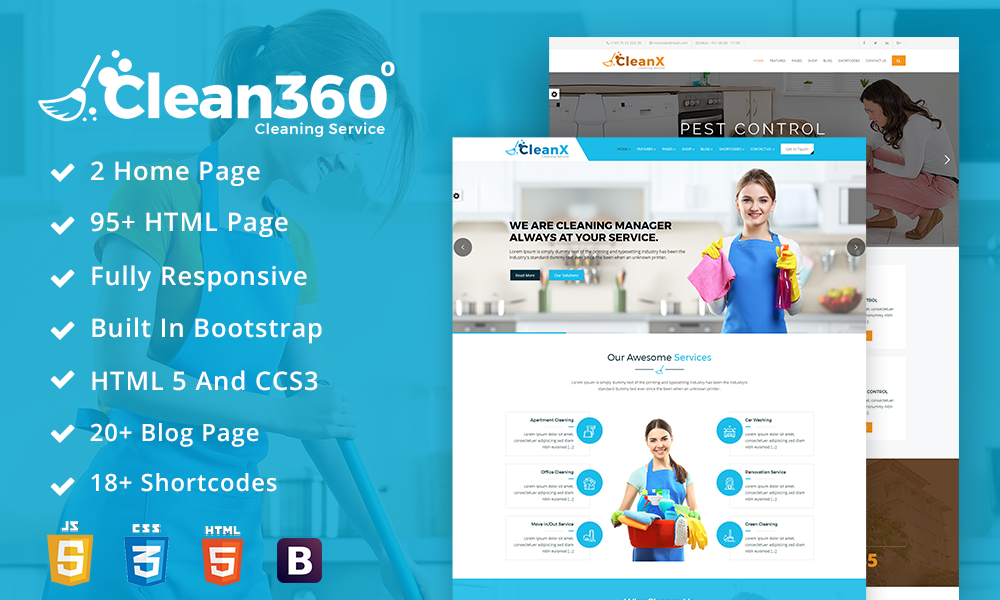 Clean360 Cleaning Pest Control Services HTML Template