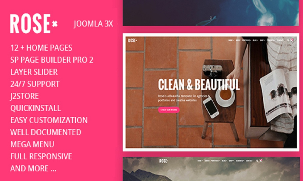 Rose - Multipurpose Responsive One Page Joomla #Theme With Page Builder