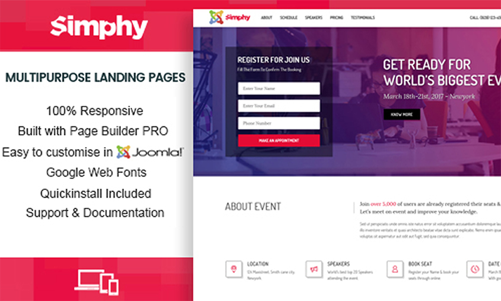 Simphy Creative Multipurpose Joomla Landing Templates With Page - Joomla landing page template
