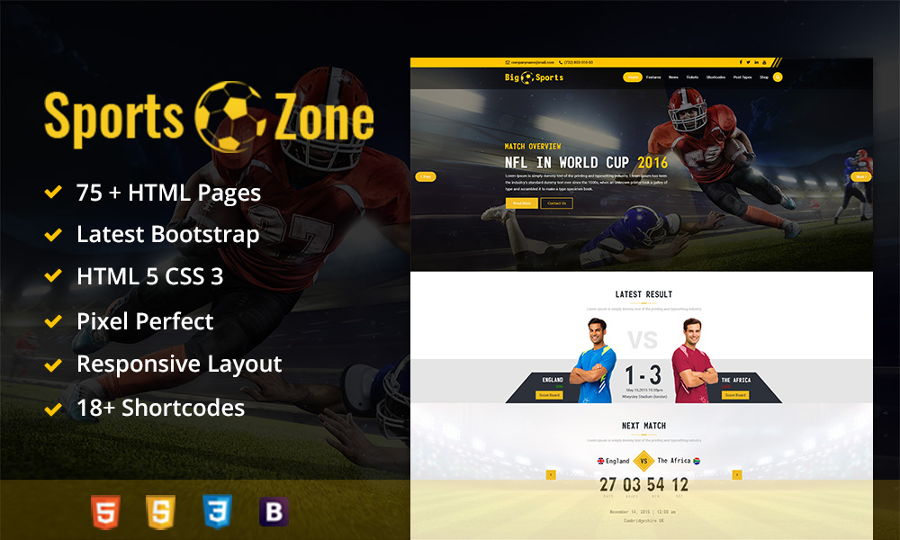 SportsZone Sports Club New & Game Magazine Mobile Responsive Bootstrap HTML Template