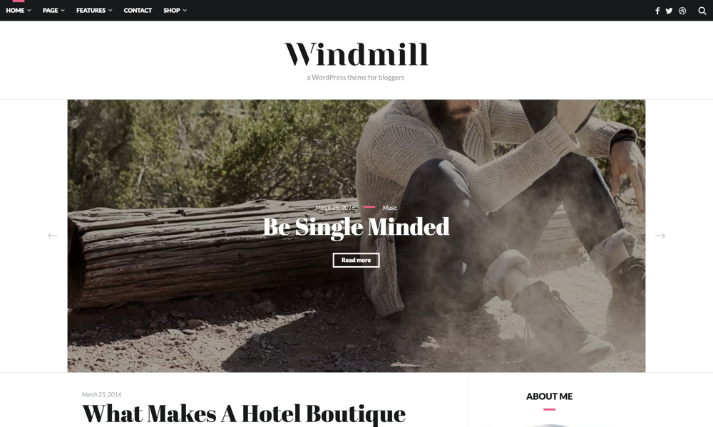 FREE WordPress theme for bloggers, Windmill