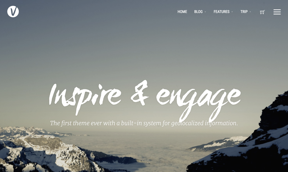 The Geolocalized WordPress theme, Voyager by Evolve