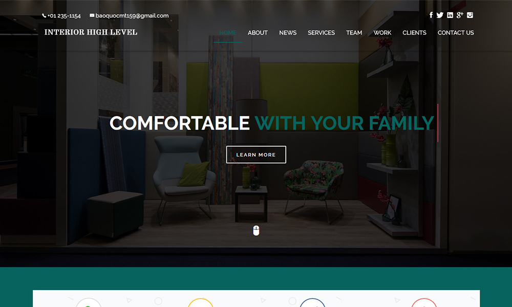 Interior High Level One Page HTML Template