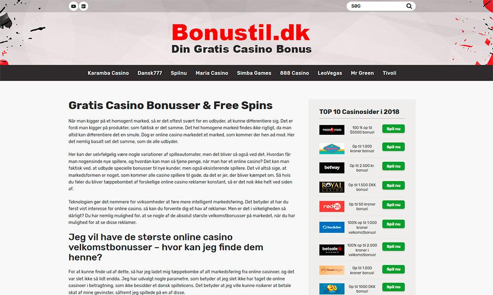 Bonustil.dk - Dansk bonus guide