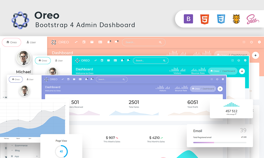 Oreo - Bootstrap4 Dashboard with Light & Dark Version