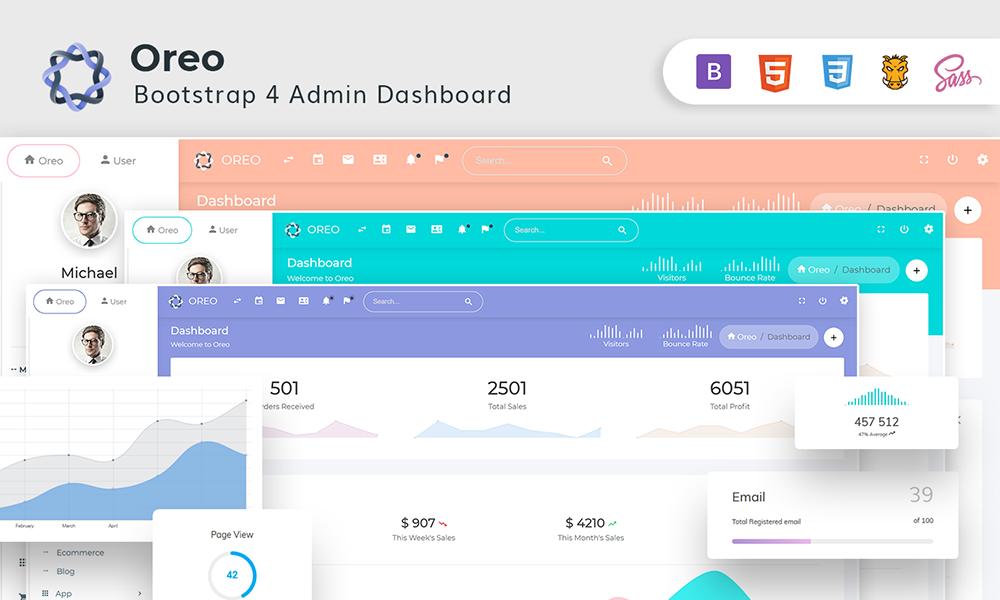 Oreo - Bootstrap4 Dashboard with Light & Dark Version