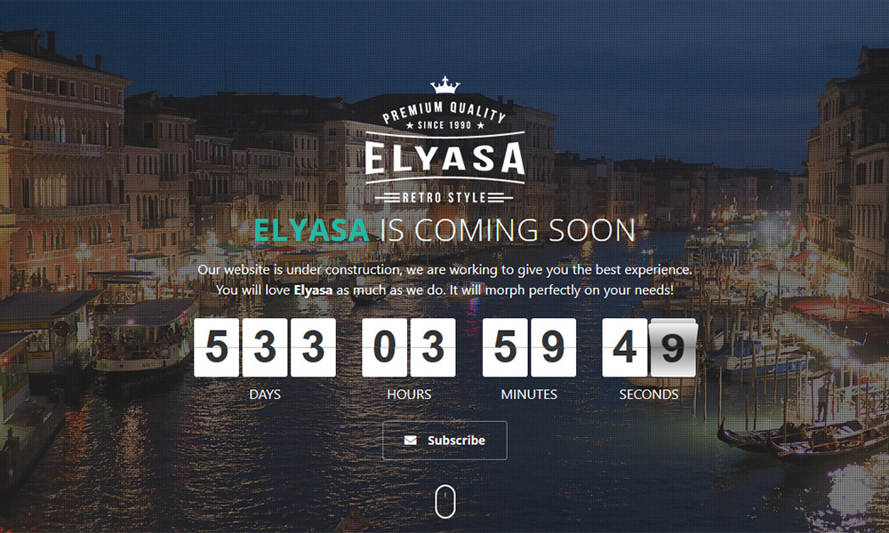 Elyasa - Responsive Coming Soon WordPress Plugin