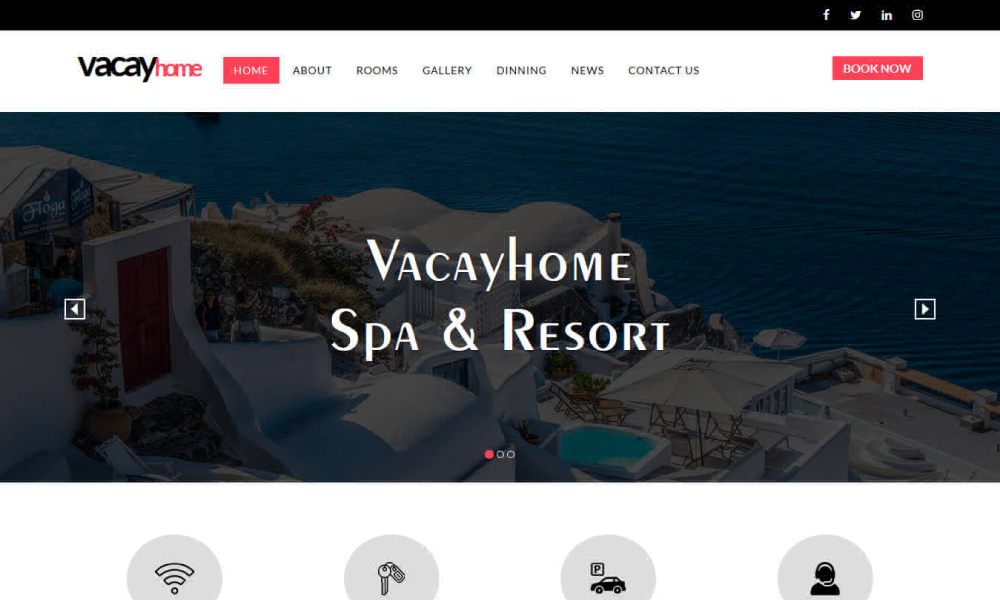 VacayHome- Free Resort and Hotel HTML5 Website Template