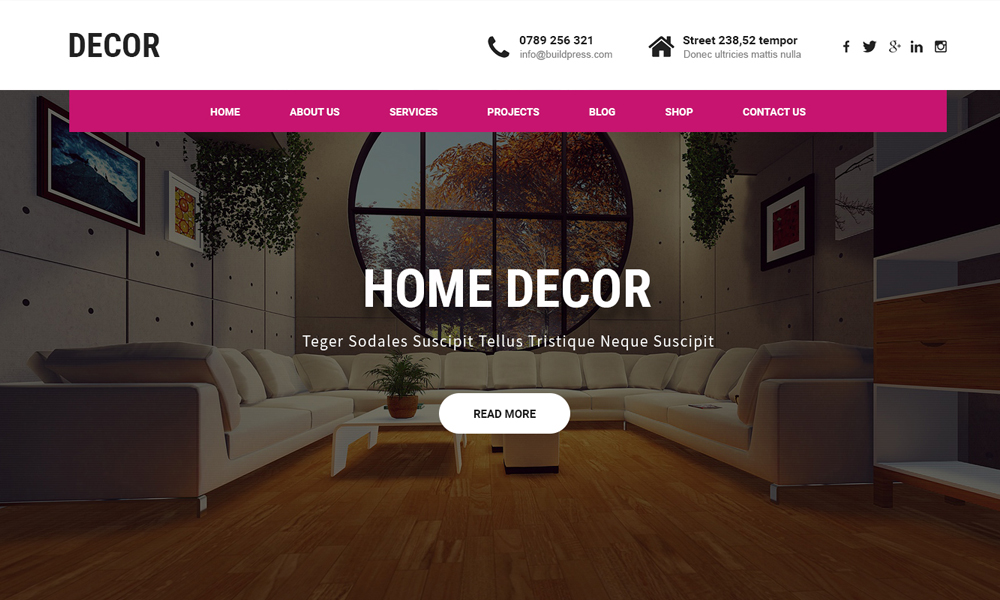 Free Interior WordPress theme