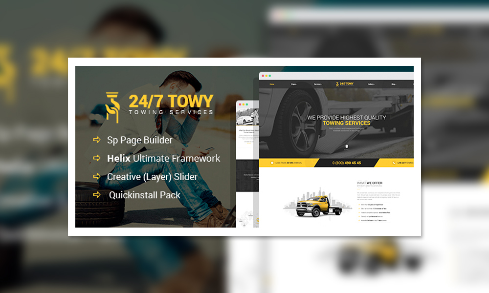 Towy - Emergency Auto Towing and Roadside Assistance Service Joomla Theme with Page Builder