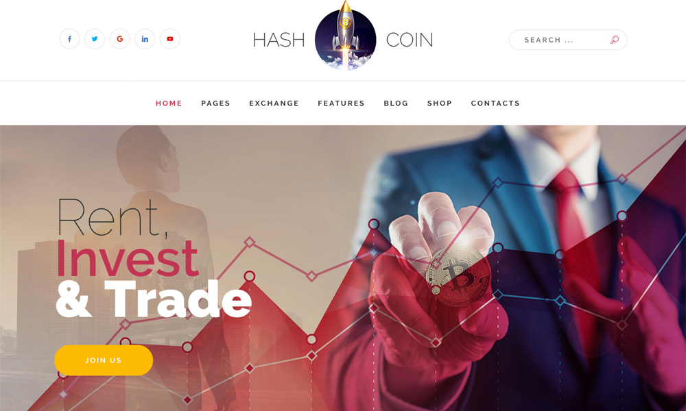 HashCoin Plus - Bitcoin Crypto Currency Joomla template with Page Builder