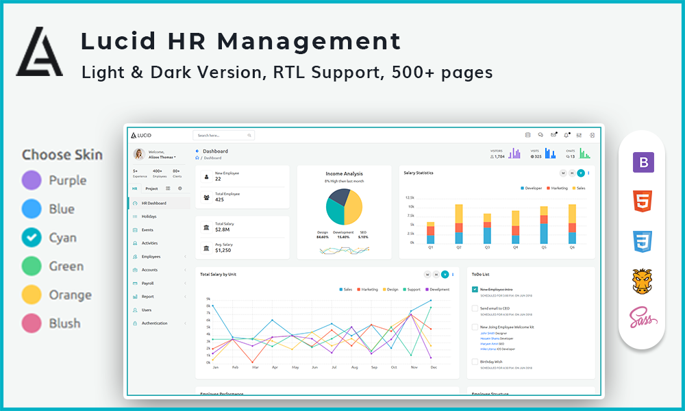 Lucid HR and Project Management Admin Template