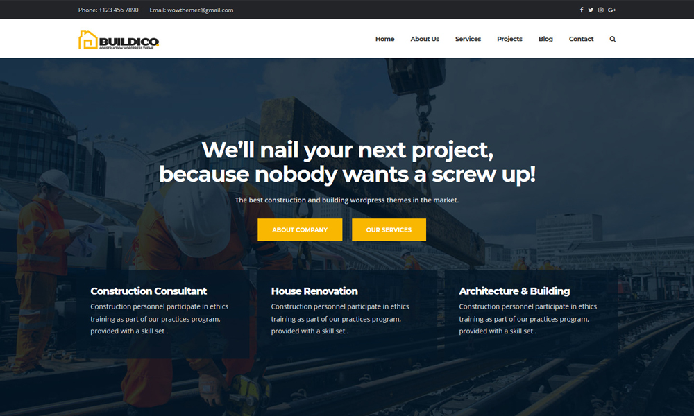 Buildico - Construction WordPress Theme