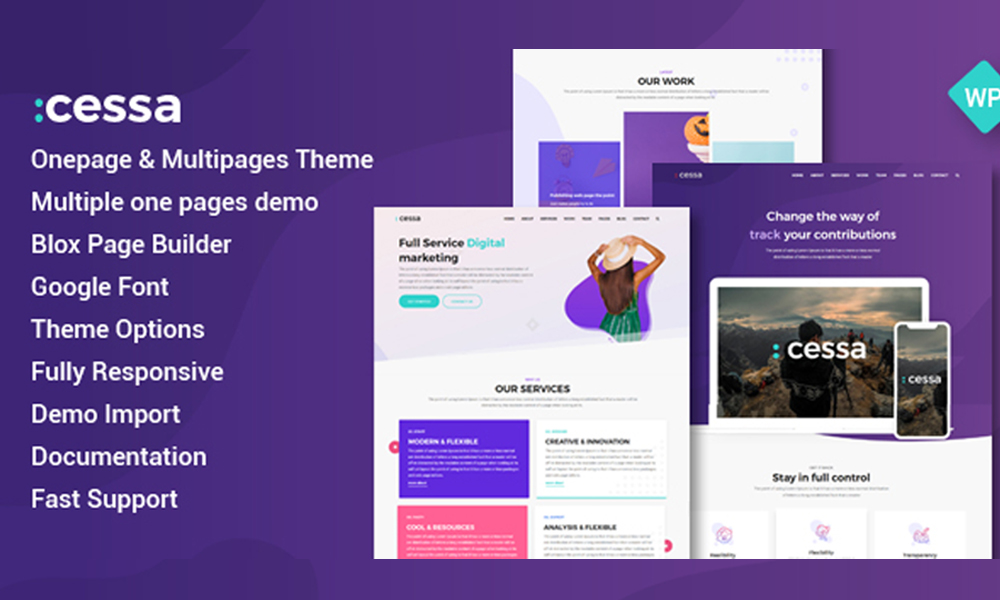 Cessa Colorful & Creative WordPress Onepage and Multipages
