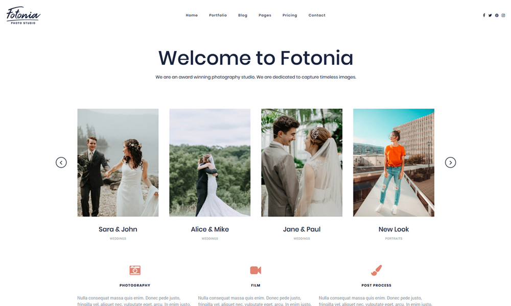Fotonia Portfolio Photography WordPress Theme