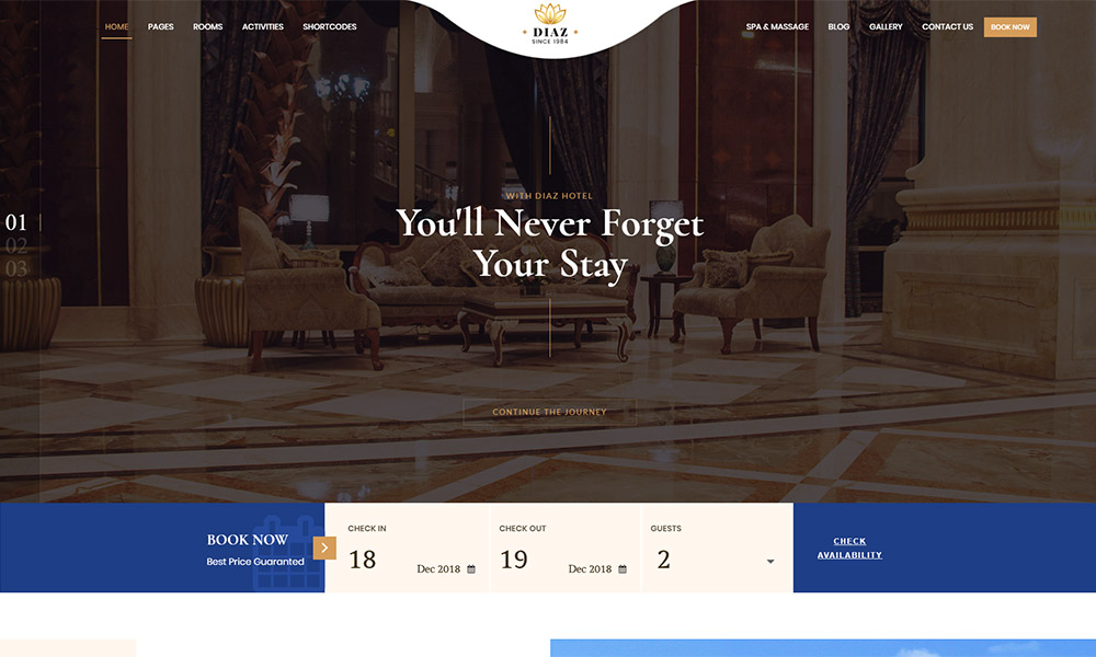 Diaz Hotel Booking Theme