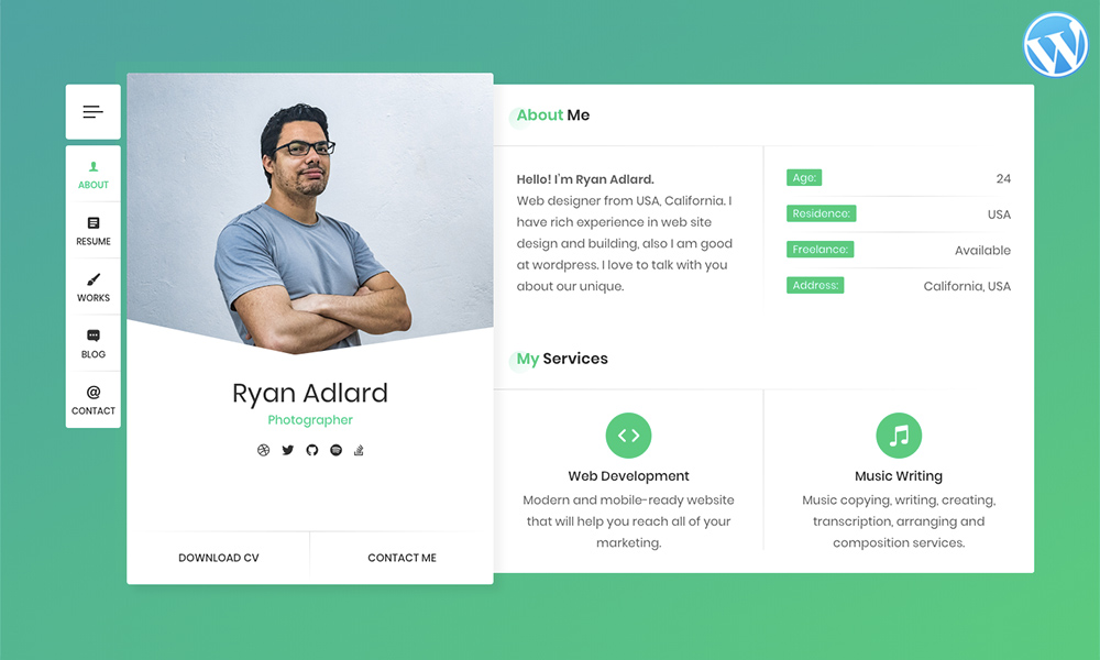 RyanCV - Resume / CV / vCard WordPress Theme