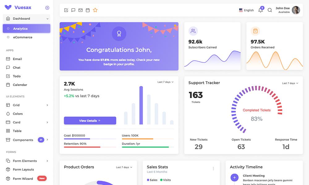 Vuesax - Vuejs Admin Dashboard Template