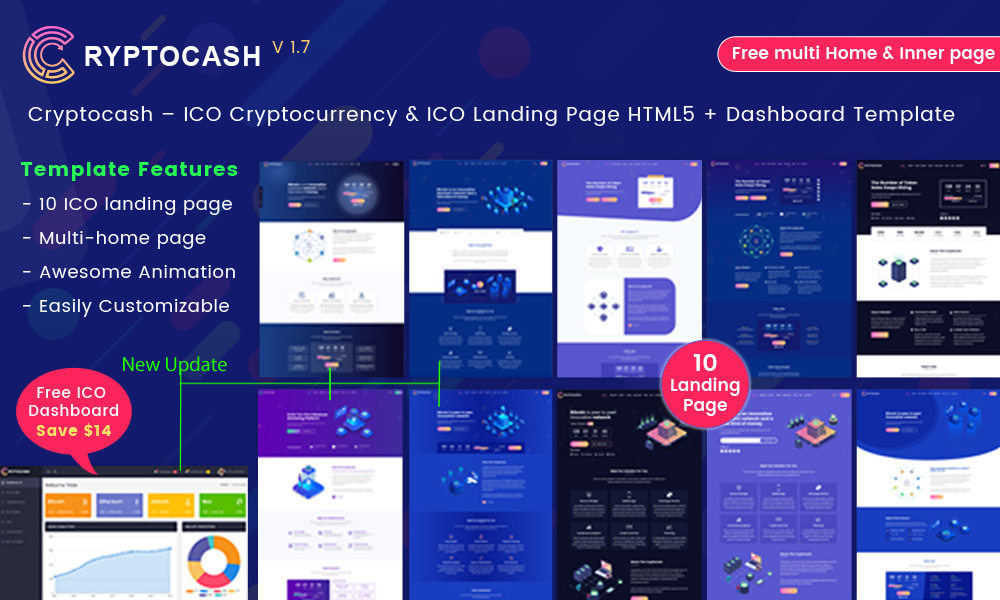 Cryptocash – ICO Cryptocurrency & ICO Landing Page HTML Template