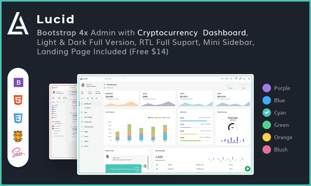 Lucid - Powerful Bootstrap 4x Admin with Cryptocurrency Dashboard