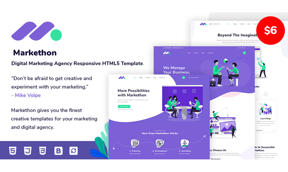 Markethon - Digital Marketing Agency Responsive HTML5 Template