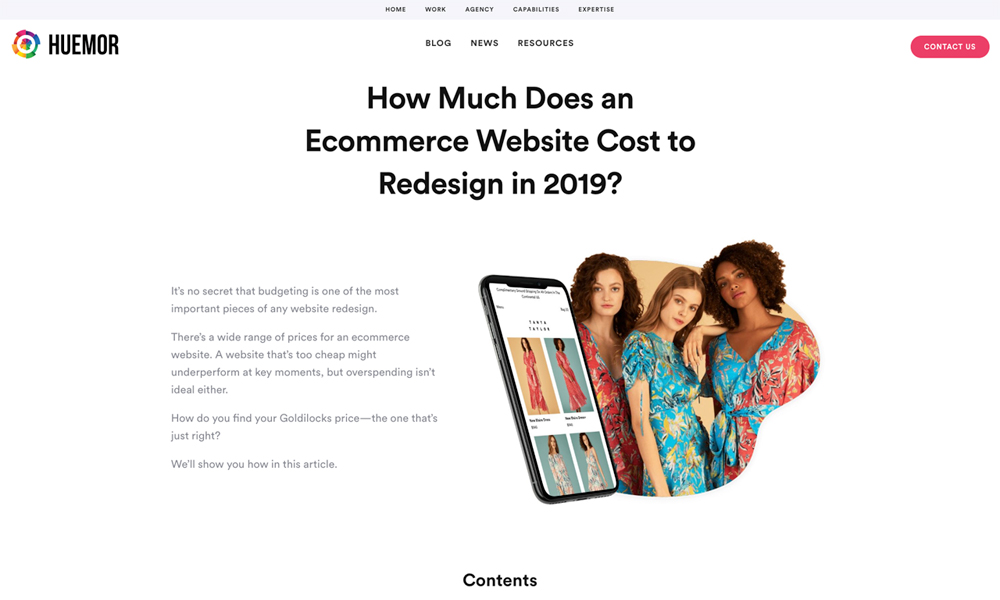 Huemor - Ecommerce Website Cost