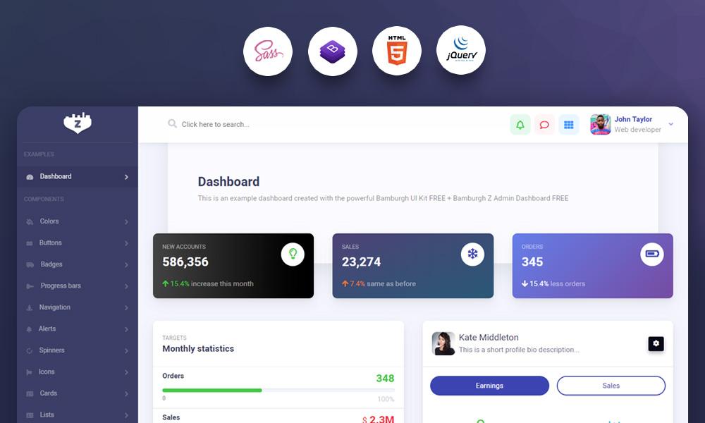 Bamburgh Admin Dashboard FREE