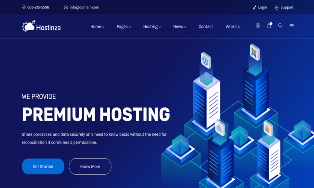 Hostinza - Isometric Web Hosting, Domain and WHMCS Html Hosting Template